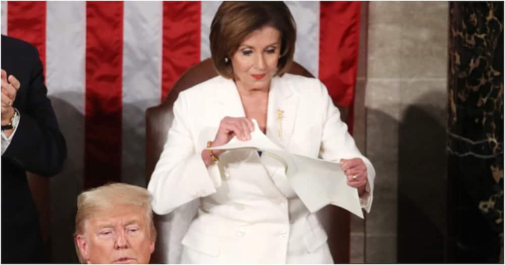 US House Speaker Nancy Pelosi tears up President Trump's speech