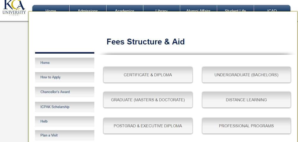 KCA student portal fees structure