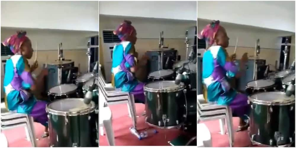 Video shows grandma playing drum set with great skills