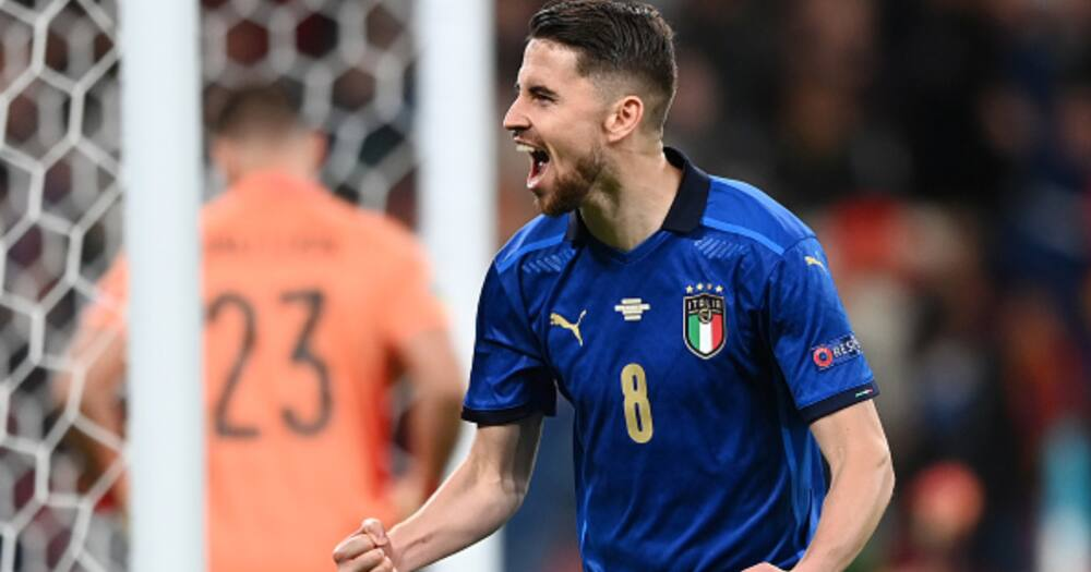 Jorginho celebrates after scoring for Italy during the Euros. Photo: Getty Images.
