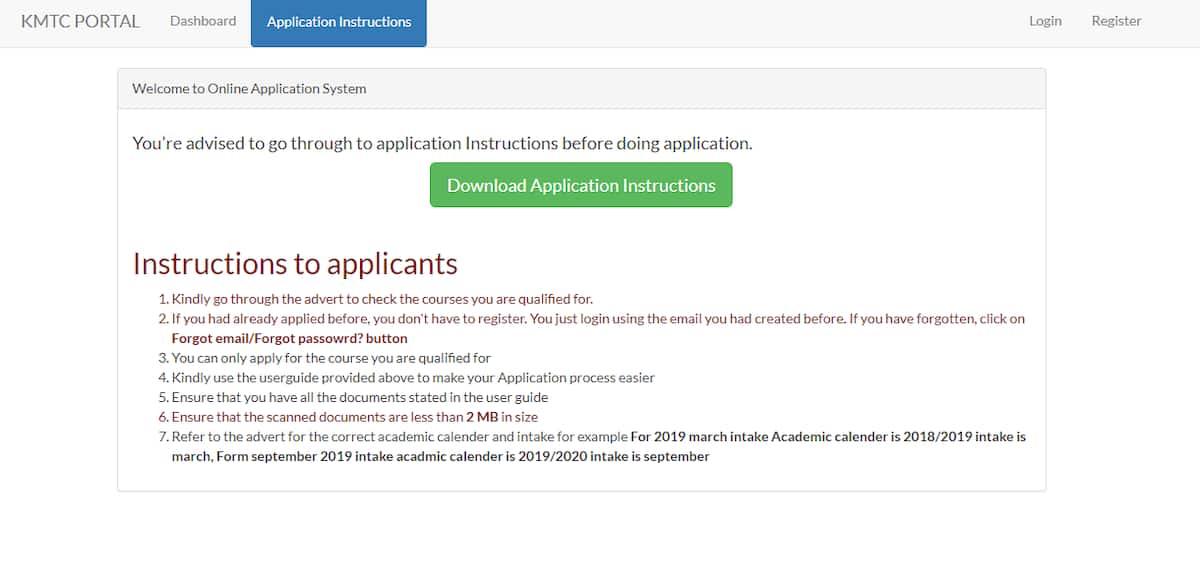 kmtc online application