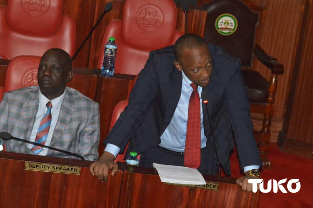 Nairobi County Assembly Majority Leader Abdi Guyo (standing) in a past House session. Photo: TUKO.co.ke