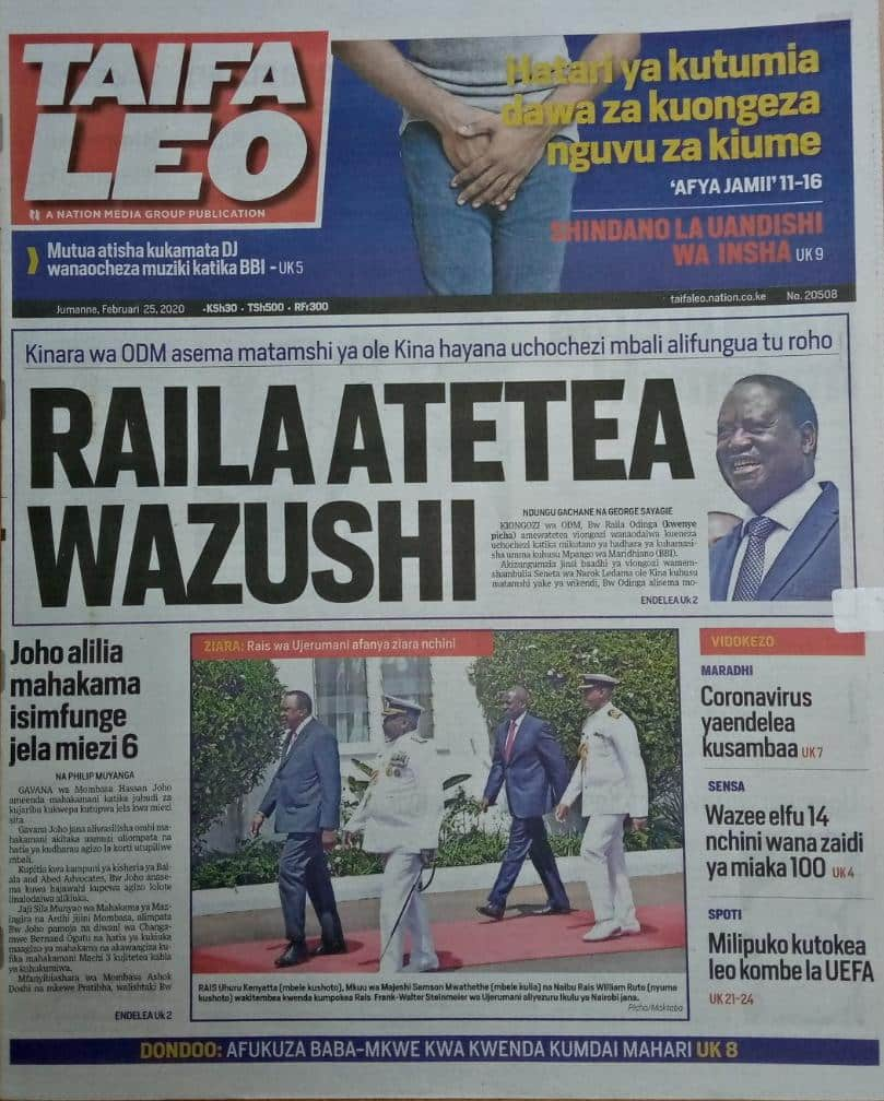 Kenyan newspapers review for February 25: Kenyans paid KSh 1bn for SGR grass, KSh 5m for chief engineer's airtime