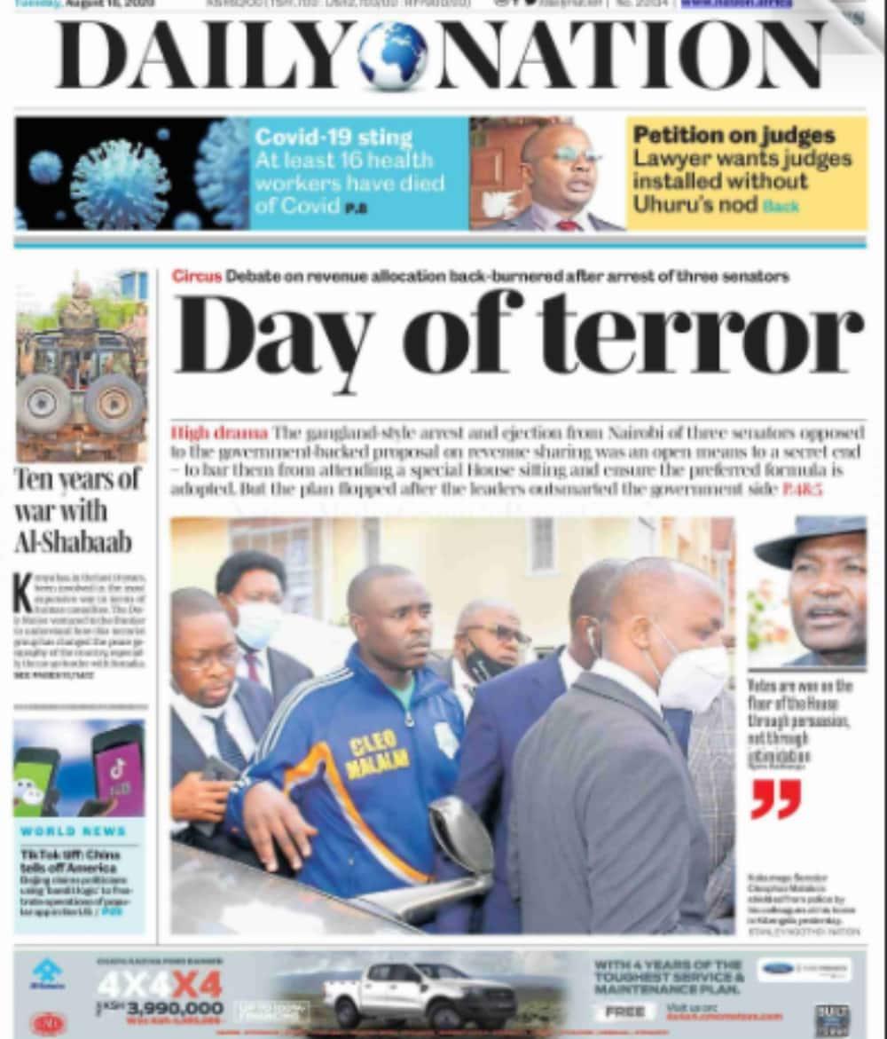 Magazeti ya Jumanne, Agosti 18: NLC yamtetea Ruto katika mvutano kuhusu shamba la Weston Hotel