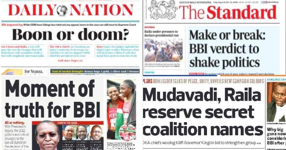 Kenyan Newspapers Review for August 20: William Ruto trashes Uhuru's meeting to unite former NASA leaders