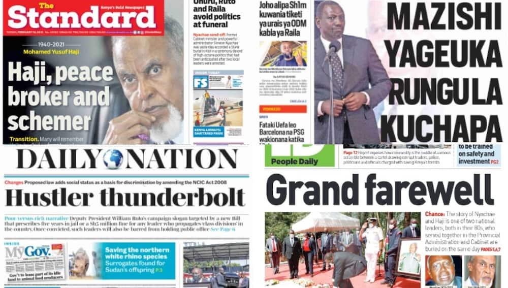 Magazeti ya Jumanne, Februari 16:Mazishi ya Nyachae yageuka