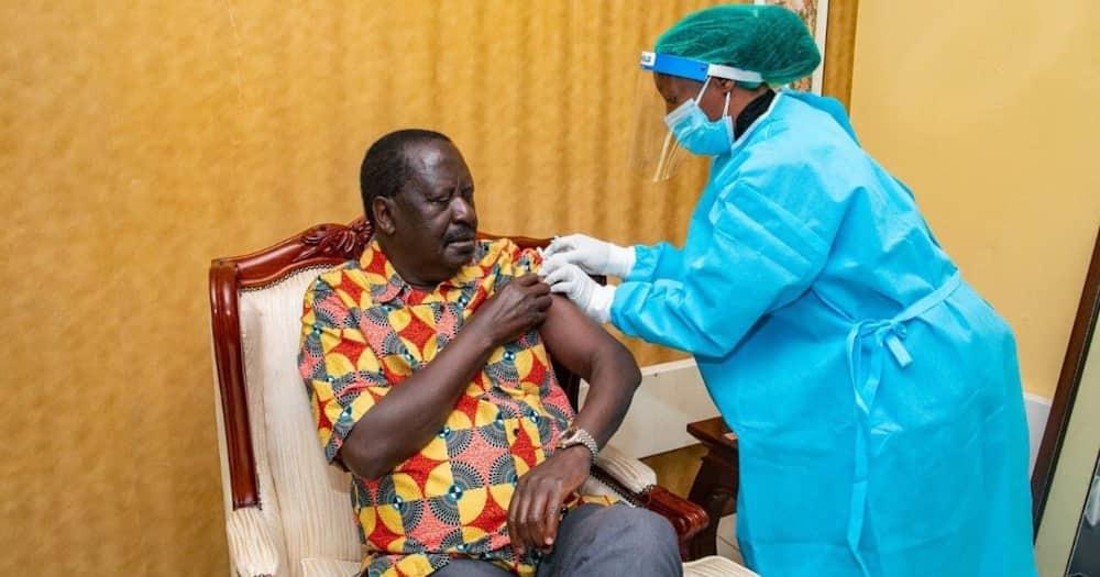 ODM leader Raila Odinga is receiving his second COVID-19 Jab. Photo: Raila Odinga.