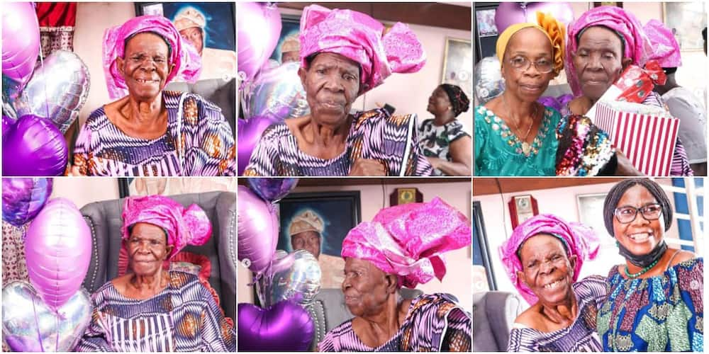 The grandmother was elated when her kids and grandkids surprised her on her 90th birthday.