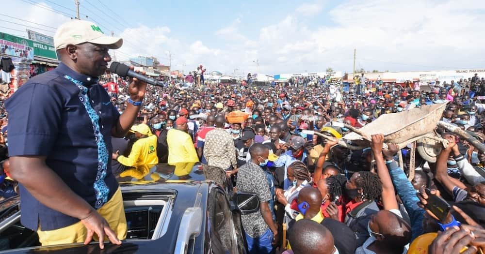 Deputy President William Ruto in West Pokot County popularising his hustler nation. Photo: William Ruto.