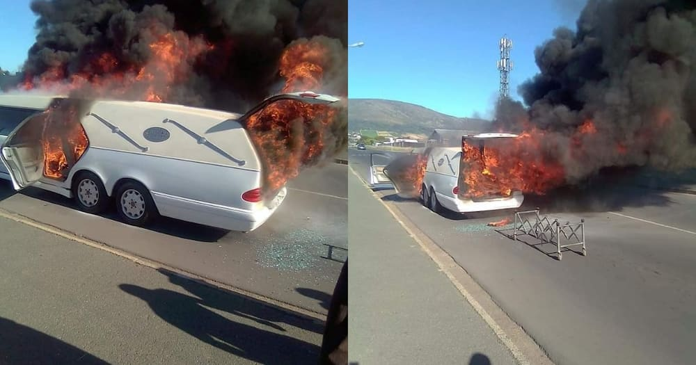 Hearse carrying coffin bursts into flames en-route to funeral viewing