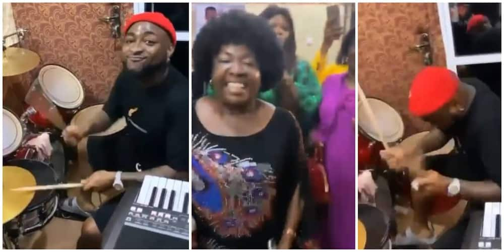 Davido spotted drumming during praise and worship session in Asaba (Video)
