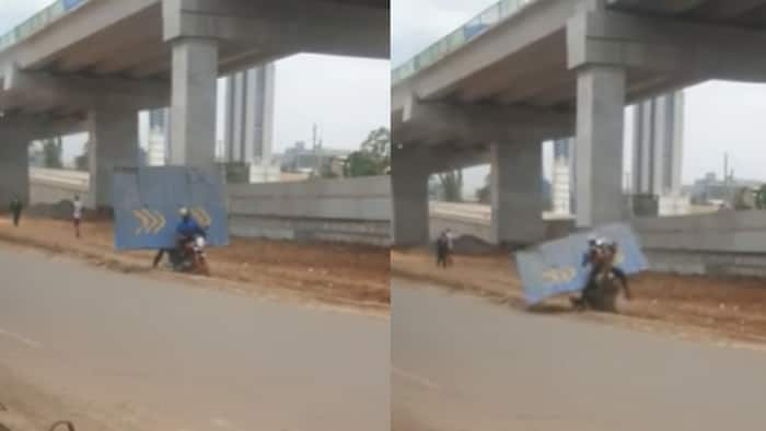 Video of Man Struggling to Steal Iron Sheet from Nairobi Expressway Sparks Reactions