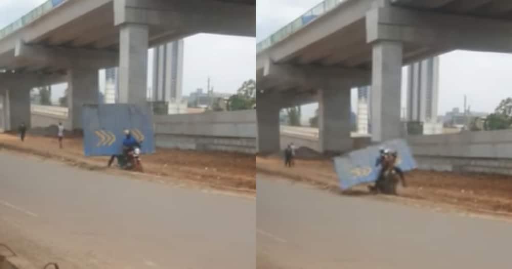 Men vandalising Nairobi Expressway. Photo: Jeff Kuria.