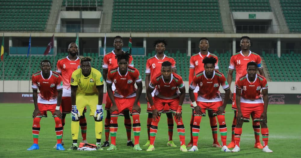 Harambee Stars squad pose for a photo before their clash with Mali. Photo: Twitter/Harambee Stars.