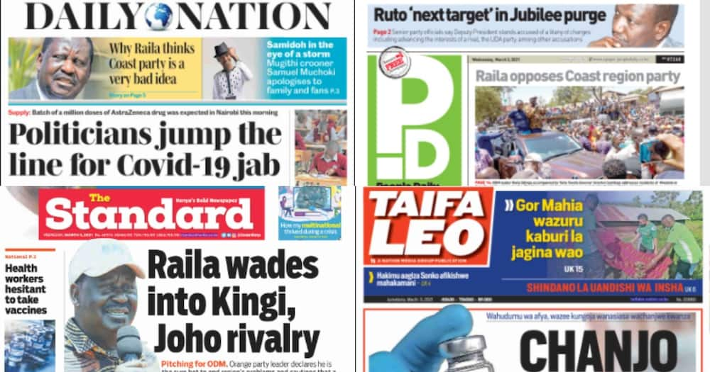 Kenyan newspapers review for March 3: Ruto next on target in Jubilee Party purge