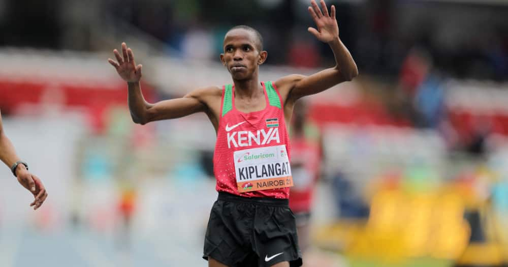 Benson Kiplangat celebrates after he emerged victor in the 5000m. Photo: Nation.