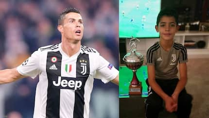 Ronaldo shares adorable photo of his son posing with trophy won with Juve U9s