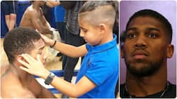 Emotional moment Anthony Joshua made 8-year-old blind Arsenal fan's dream come true (video)