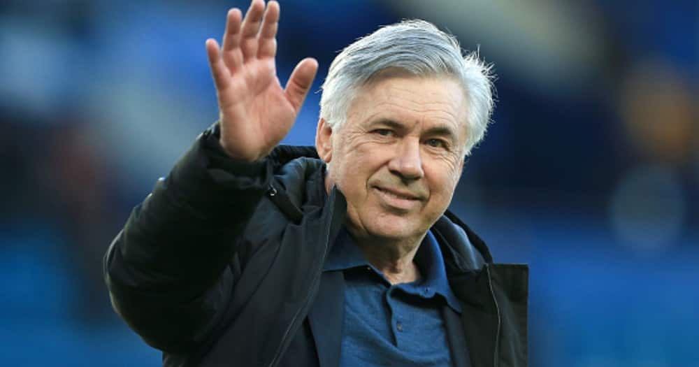 Carlo Ancelotti waves during Everton's EPL vs Wolves at Goodison Park. Photo by Simon Stacpoole.