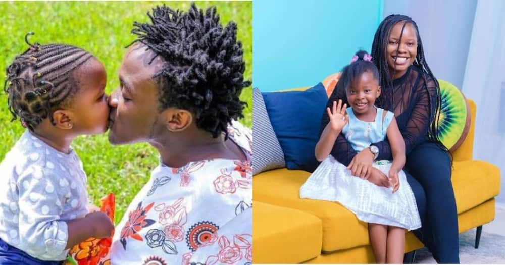 Bahati and his ex-lover with their daughter.