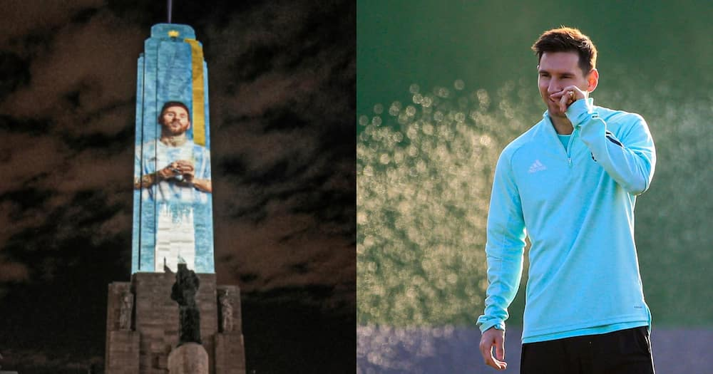 Stunning Image of Messi lights up Rosario ahead of Copa final clash