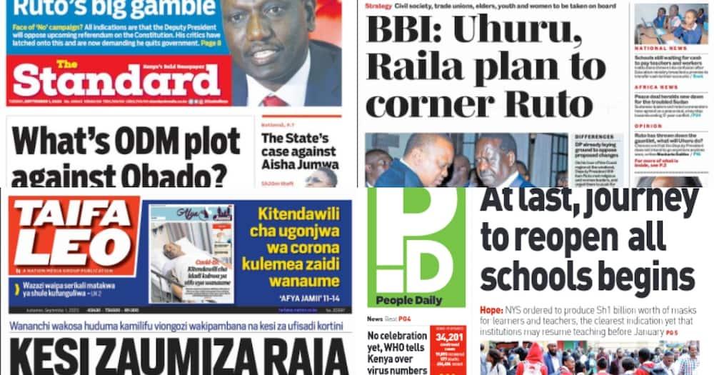 Magazeti ya Kenya Septemba 1: Obado atavuliwa viatu? ODM chaita MCAs wa Migori Chungwa House