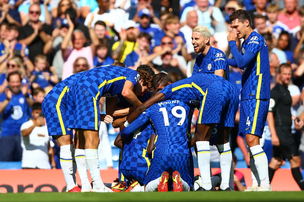 Chelsea players celebrate after scoring against Crystal Palace. Photo: Getty Images.