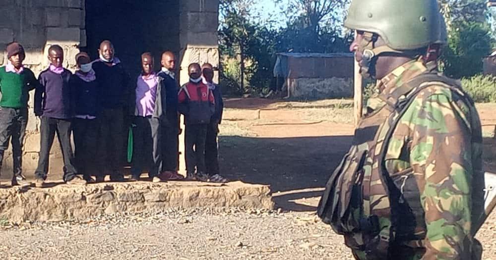 Leaner in a school in Olmoran. Photo: Nationa Police Service.