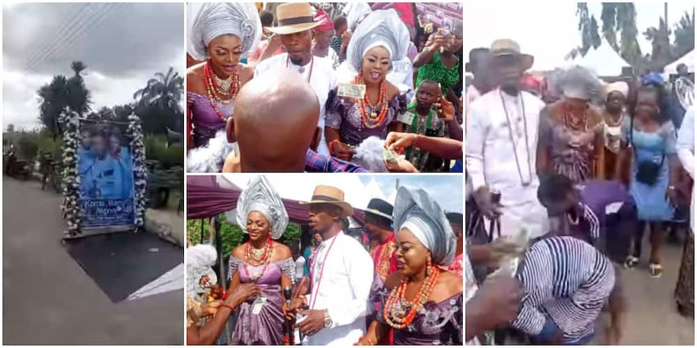 Reactions as 34-year-old Nigerian man and his two brides are sprayed N20 at their wedding.
