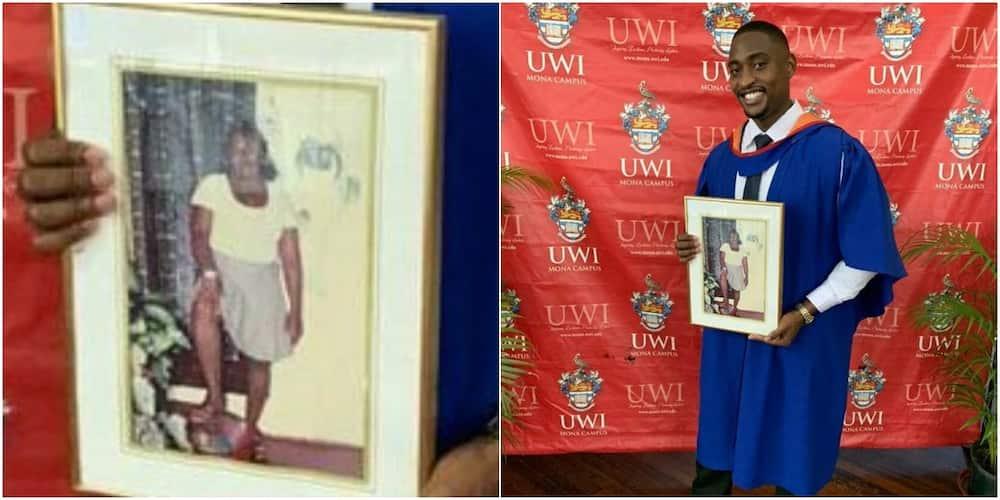Man brings deceased mum's portrait to grace his graduation ceremony