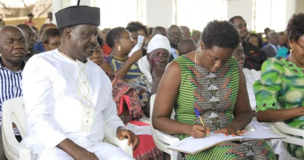 Rosemary Odinga (in green) alongside her father. Rosemary said the handshake was helpful to Kenyans. Photo: Rosemary Odinga.