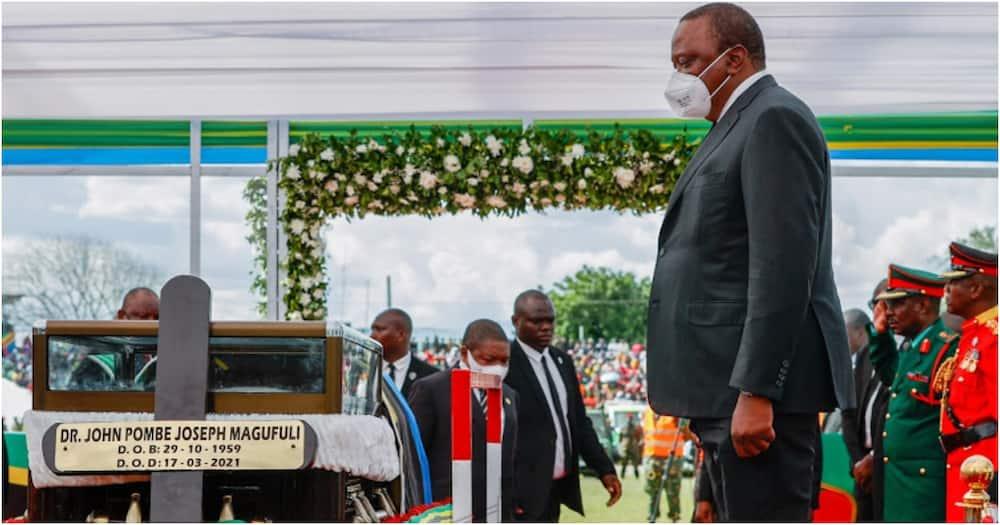 President Uhuru Kenyatta during a memorial service of late President John Pombe Magufuli at Jamuhuri stadium in Tanzania. Photo: State House Kenya.