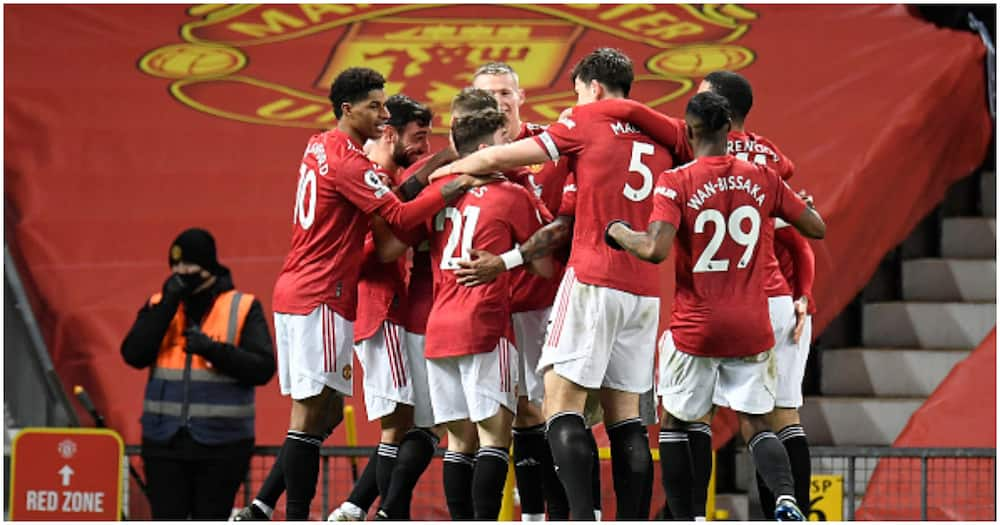 Man United players celebrating a goal last season at Old Trafford. Photo: Getty Images.