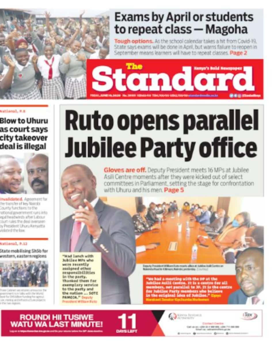 Newspapers: William Ruto opens parallel Jubilee Asili office