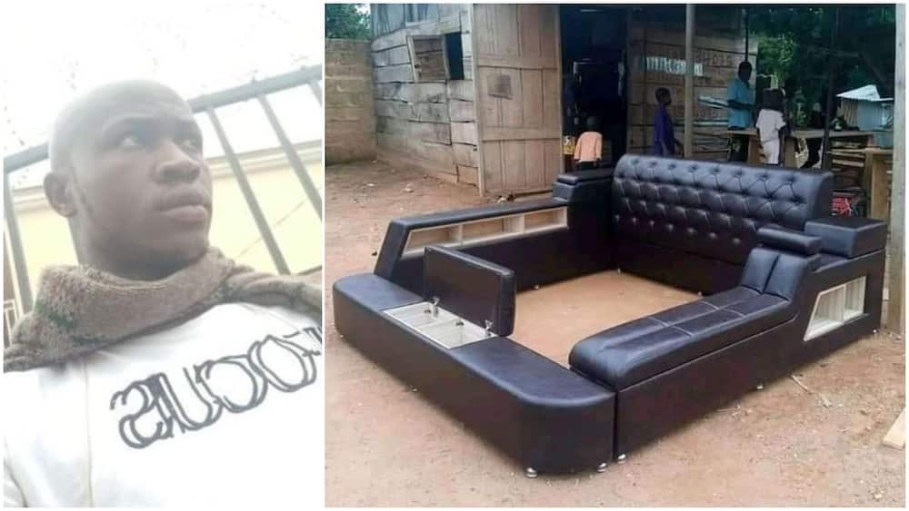 Young Nigerian man showcases the bed frame he made, photo stirs reactions, people ask for his location