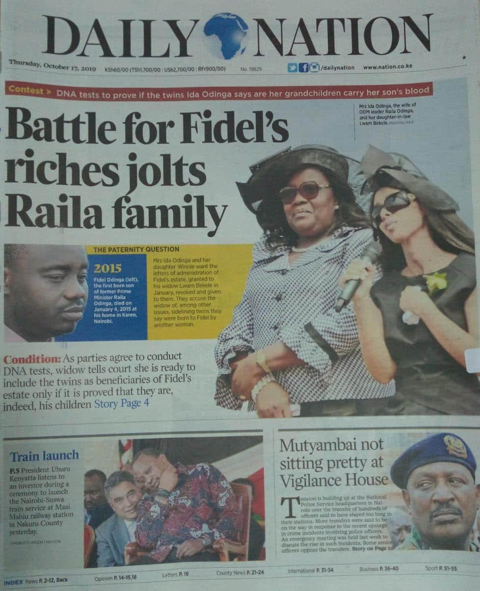 Magazeti ya Kenya Alhamisi, Oktoba 16: Mvutano washuhudiwa nyumbani kwa Raila