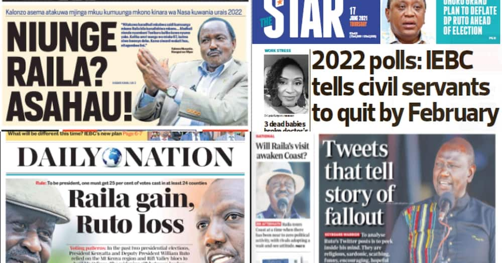 Kenyan newspapers for June 17. Photo: The Standard, Daily Nation, People Daily and Taifa Leo.