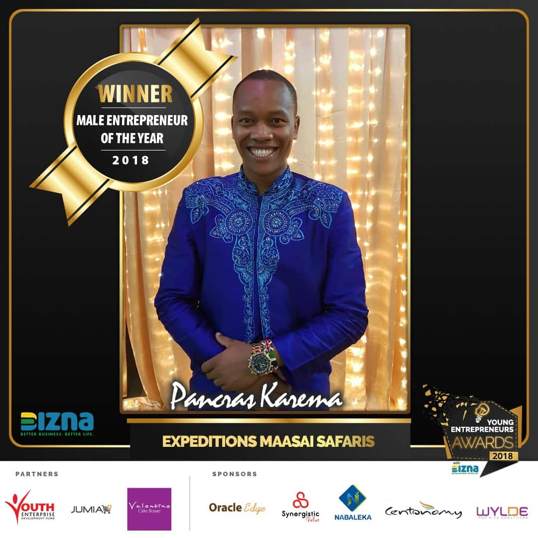 Expeditions Maasai Safaris' Pancras Karema declared Kenya's Young Male Entreprenuer of the Year 2018!