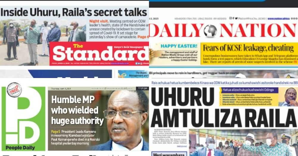 Kenyan Newspapers Review For April 2: Uhuru Drives Himself to Raila's Residence, Holds Secret Meeting