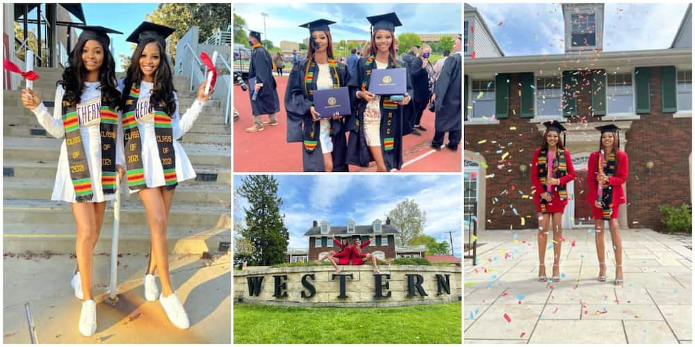 Beautiful Nigerian Identical Twins Graduate from US University Together, Stun the Internet with Lovely Photos