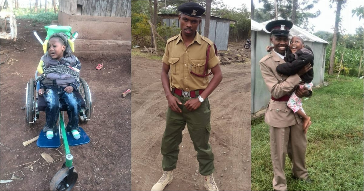 Policeman warms Kenyans' hearts after posting emotional video with disabled son
