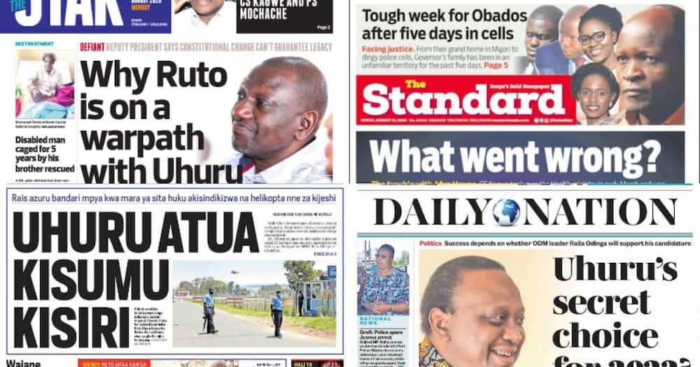 Magazeti ya Kenya Agosti 31: DP Ruto ataka mwanamke awe makamu wa rais 2022
