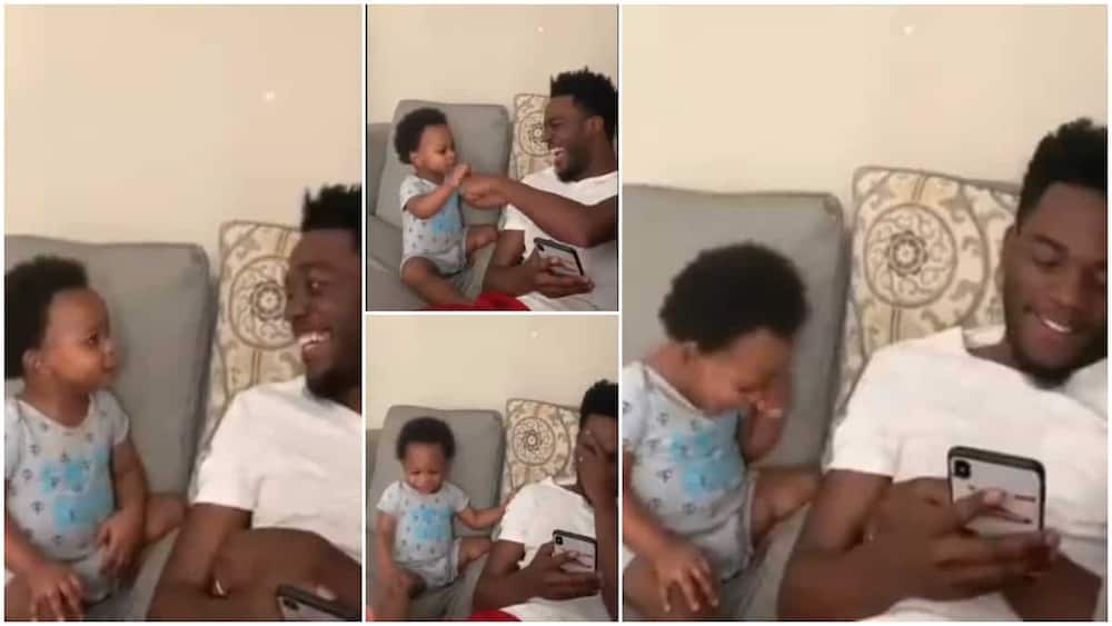 Sweet moment 'father' and son fist-bumps as they talk funny things, video causes laughter