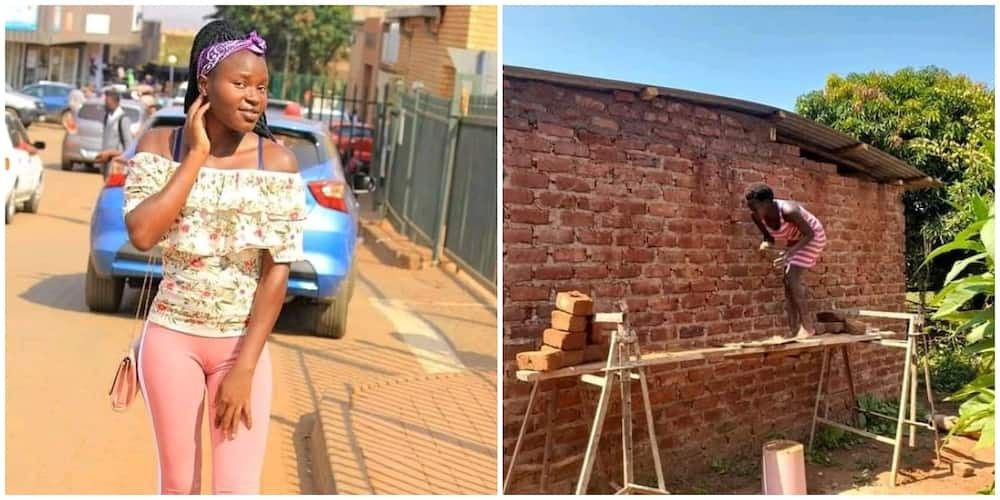 Pretty Lady Builds Her House and Plasters it Herself, Photos Spark Huge Reactions on Social Media