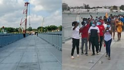 Mombasa residents have a feel of floating bridge after it was opened for few hours