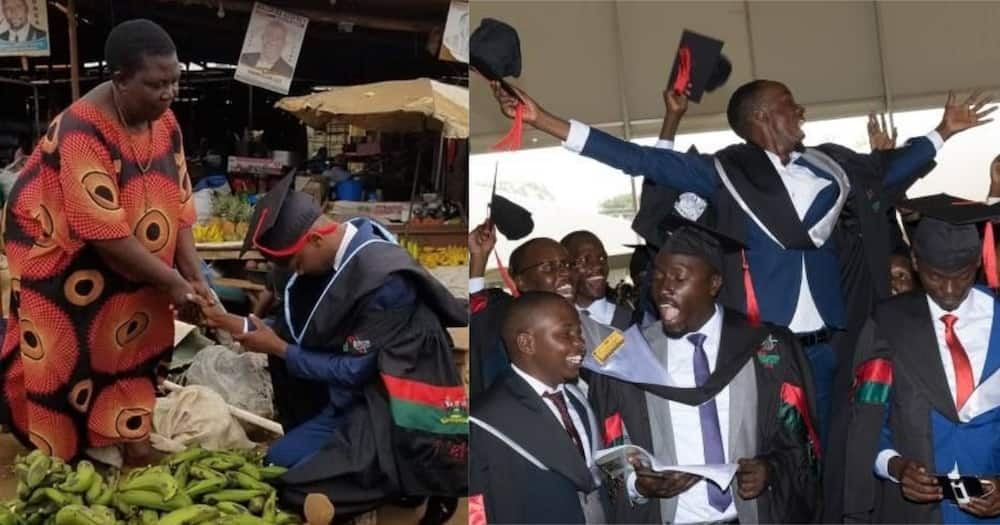 Makerere Graduate Appreciates Mom by Kneeling in Front of Her at The Market After Graduation