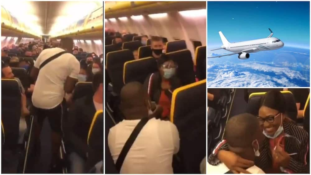 A collage showing the event and an illustrative plane picture. Photo source: Instagram/WazobiaGossip/ABC Science