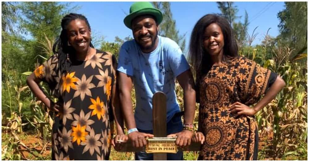 Actors' Njoro, Awinja and Wibroda at Papa Shirandula's grave. Photo: Awinja.