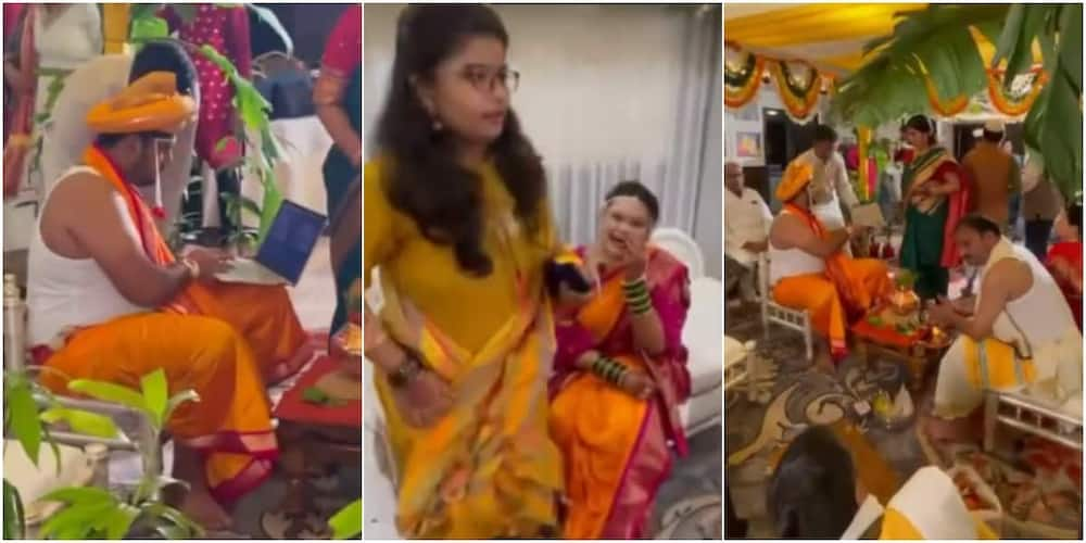The groom got many talking on social media after he was spotted operating a laptop on his wedding day.