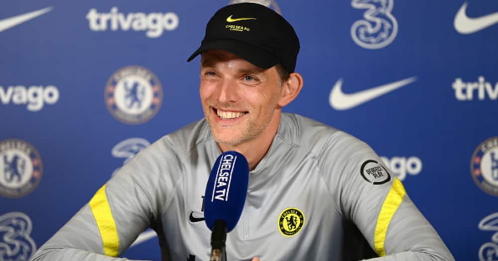 Chelsea boss Thomas Tuchel during a past press briefing. Photo: Getty Images.